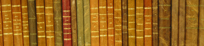 A row of case books on the shelf.