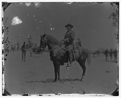 Washington. D.C., vicinity. Maj. Gen. Alexander M. McCook on horseback, Brightwood, 1864 July