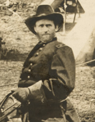 Detail of rider in photo captioned General Grant at City Point