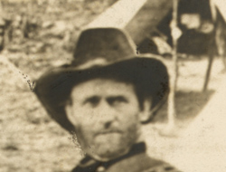 Detail of man's head in photo captioned General Grant at City Point
