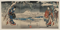 Ukiyo-e triptych print showing a snowy landscape with a woman brandishing a broom and a man holding an umbrella.