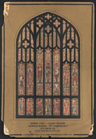Design drawing for stained glass window for Georgia School of Technology in Atlanta, Georgia. Design for Class Window, Arts and Crafts style. Sciences represented include Chemistry, Commerce, Architecture, and, preeminently, Engineering: Civil, Mechanical, Electrical. Symbols, power plant, Leaning Tower of Pisa, seals of school and state