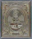 [Union case for daguerreotype, ambrotype, or tintype showing the George Washington equestrian monument on the Virginia state capitol grounds by Thomas Crawford surrounded by seraphs, eagles and Union shields; back is design of seraphs, eagles, and shields only]