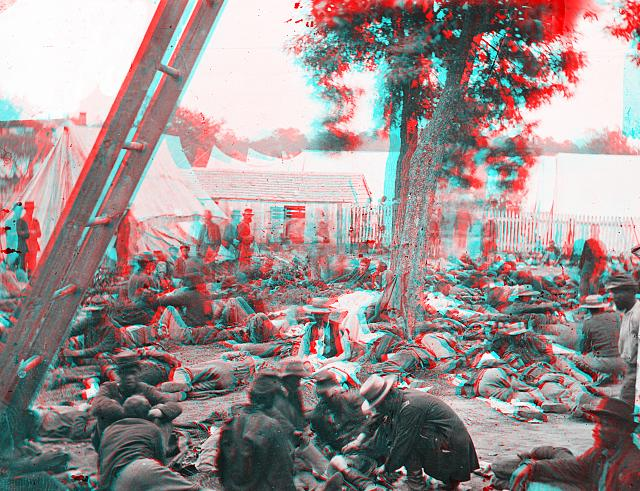 anaglyph of Tending wounded Union soldiers at Savage's Station, Virginia, during the Peninsular Campaign