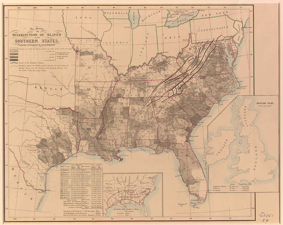 Map Showing The Distribution Of Slaves In The Southern States N P N D Printed Map Geography And Map Division Library Of Congress 3 14