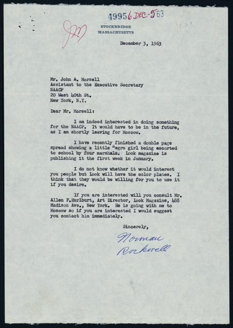 The aftermath brown v board at fifty with an even hand norman rockwell to john a morsell december 3 1963 typed letter naacp records manuscript division library of congress 155 courtesy of the naacp spiritdancerdesigns