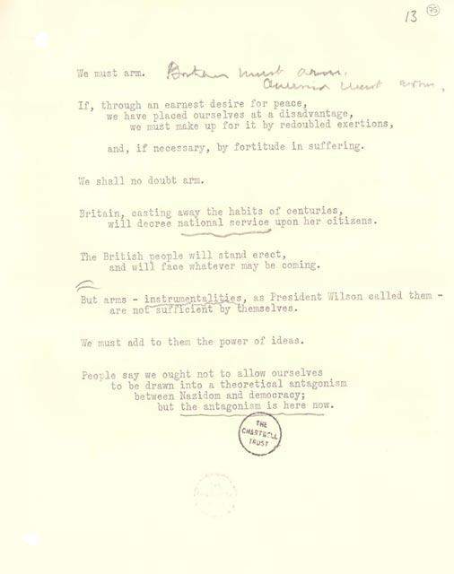 speaking notes for Churchill's broadcast too the United States, October 16, 1938