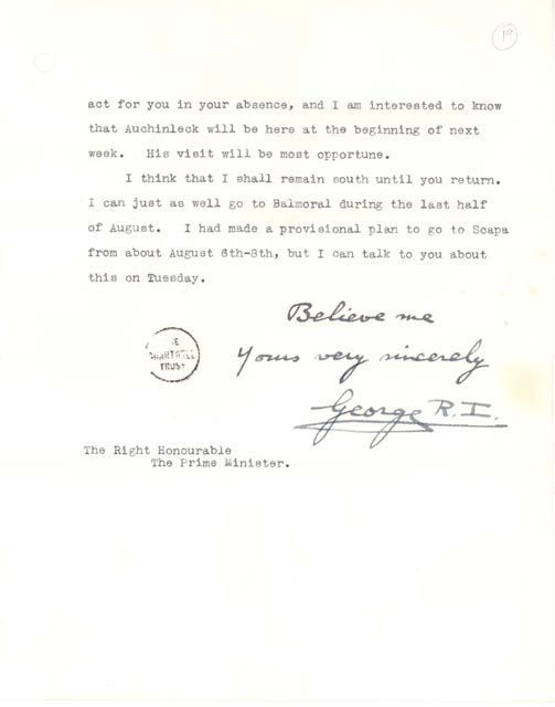 signed typescript letter churchill papers churchill archives centre cambridge uk 126