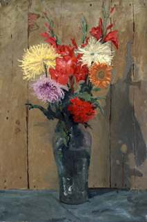 Oil Painting Flowers Green