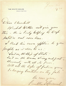 Image: President Franklin D. Roosevelt to Winston Churchill, January 20, 1941