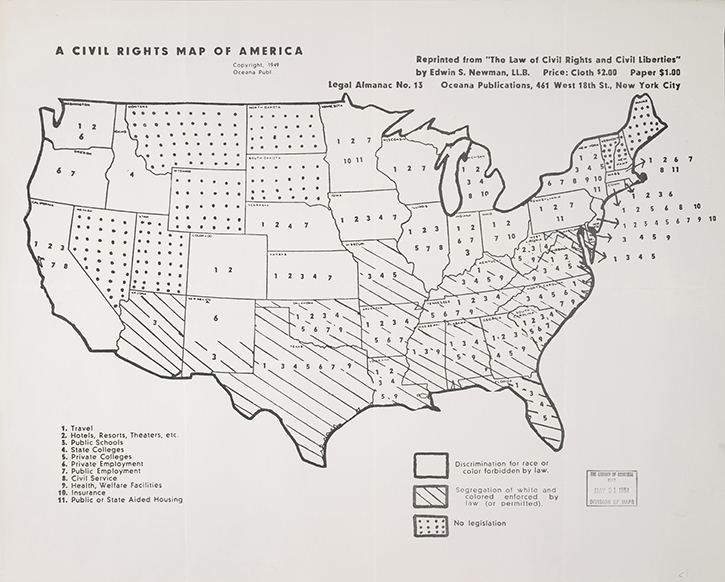 the civil rights map of america printed map new york oceana publications 1949 geography and map division library of congress 076 00 00