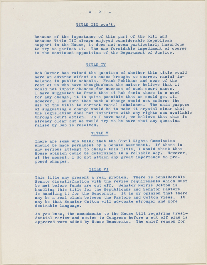 a letter to the senator on the title vii of the civil rights act of 1964