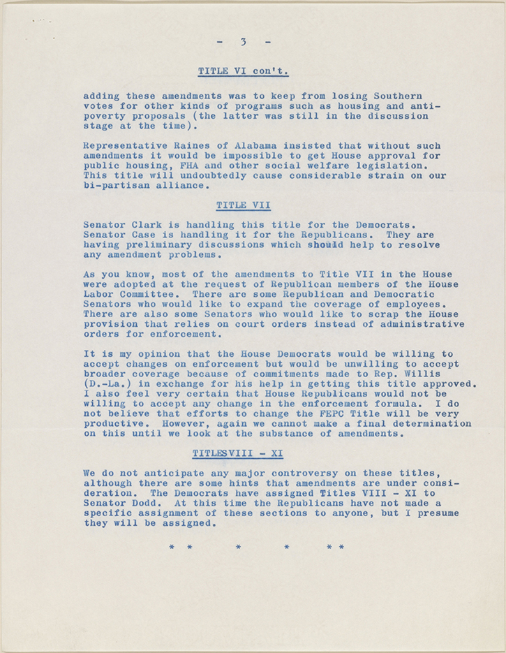 The civil rights act of 1964 the civil rights act of 1964 a clarence mitchell to roy wilkins march 12 1964 senate letter no 1 typed letter and attachment ccuart Image collections