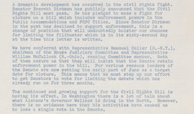 a letter to the senator on the title vii of the civil rights act of 1964 Chapter 3 title vii of the civil rights act of 1964 notes: title vii of the civil rights act of 1964:-it shall be an unlawful employment practice for an employer: o to fail or refuse to hire an individual or otherwise discriminatebecause of such individual's race, color, religion, sex, or national origin o to limit, segregate, or classify.