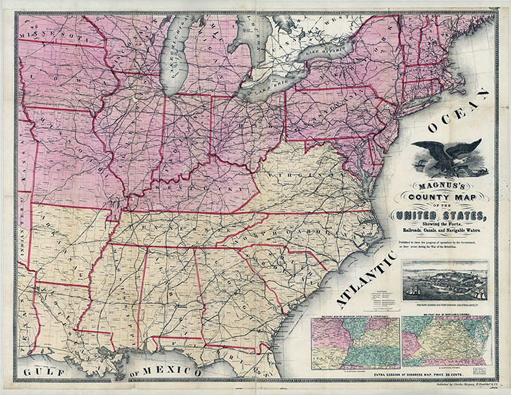 April April The Civil War In America Exhibitions Map Of The Us In 1861 State