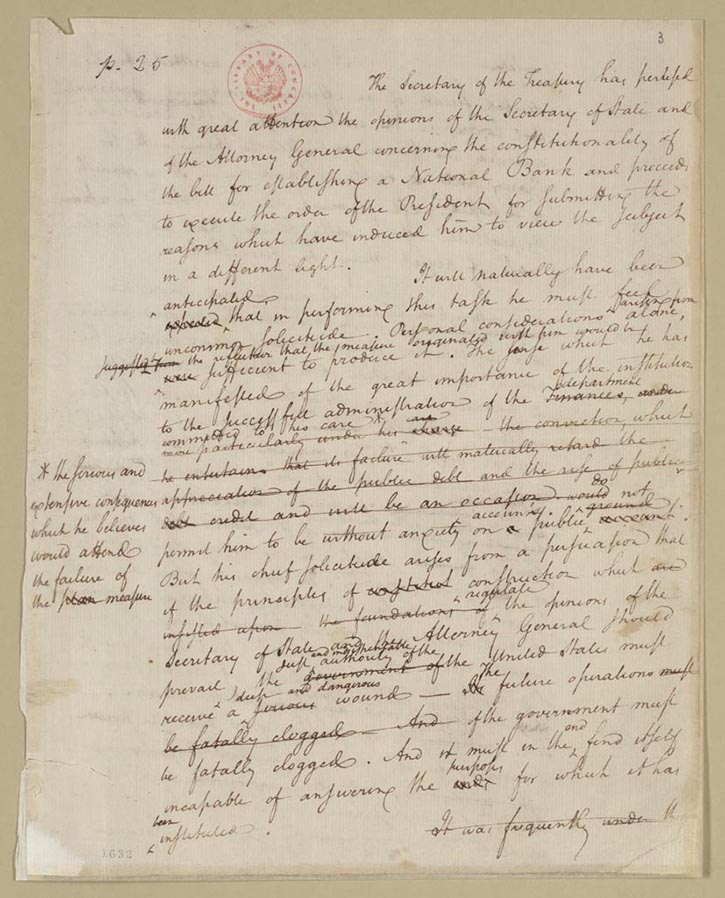 "formation of political parties creating the united states  alexander hamilton ""draft report on the constitutionality of a national bank "" 23 1791 manuscript alexander hamilton papers manuscript"