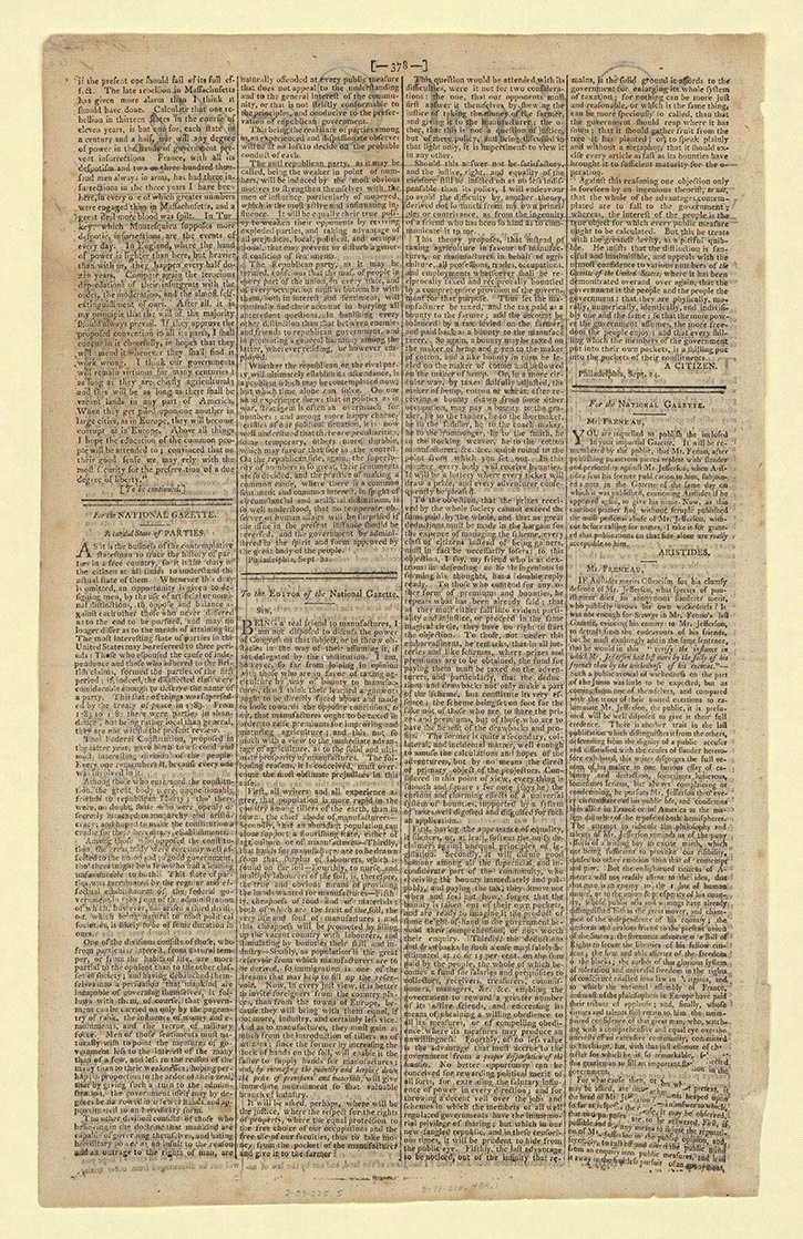 formation of political parties creating the united states a candid state of politics national gazette philadelphia 22 1792 serial and government publications division library of congress 90 00 00