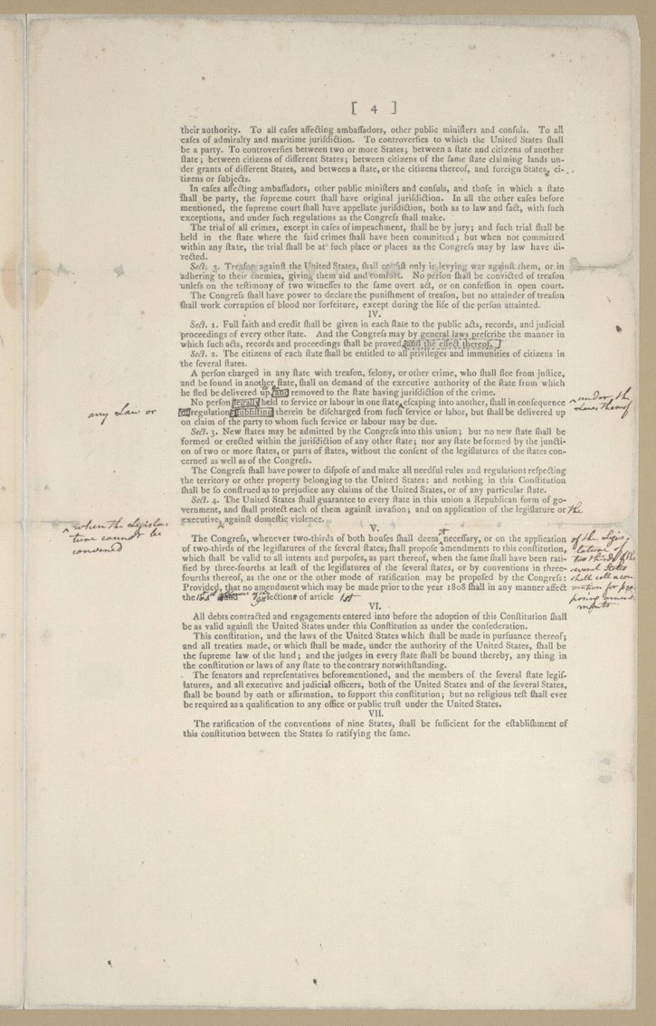 convention and ratification creating the united states draft united states constitution report of the committee of style 8 15 1787 printed document annotations by alexander hamilton