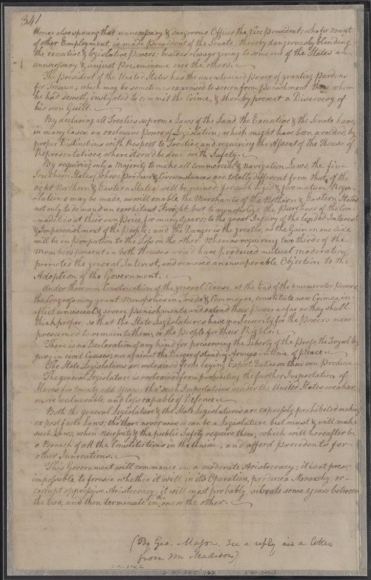 convention and ratification creating the united states objections to the constitution of government formed by the convention ca 17 1787 manuscript document george washington papers manuscript