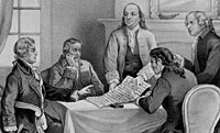 Image of Jefferson, Franklin, and others in discussion