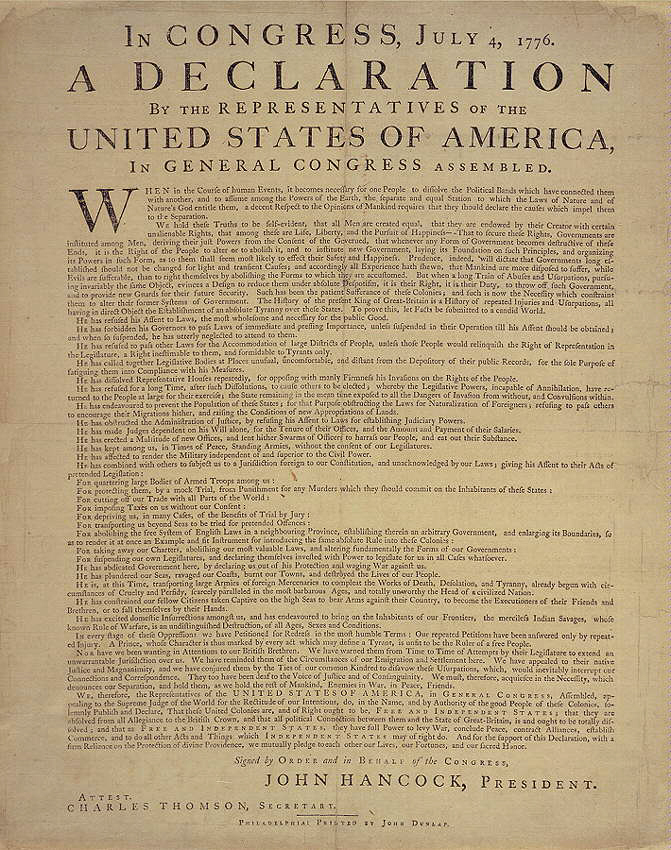 Wild image regarding printable declaration of independence text