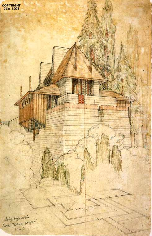 Office Of Frank Lloyd Wright Graphite And Colored Pencil On Anese Paper Ca 1923 Canadian Centre For Architecture