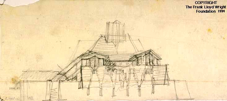 Sketch Perspective For The Shore Type Cabin Lake Tahoe Summer Colony Office Of Frank Lloyd Wright Graphite On Tracing Paper Ca 1923