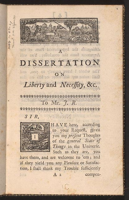 dissertation on liberty and necessity pleasure and pain Prove mortifying and distasteful - a dissertation on liberty and necessity, pleasure and pain (1725) i believe there is one supreme most perfect being.
