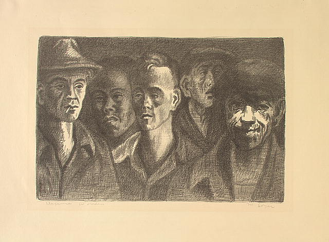 Defense Workers, 1942-1943, by Moses Soyer