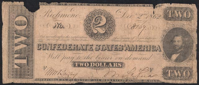 Two Dollar Bill of the Confederate States