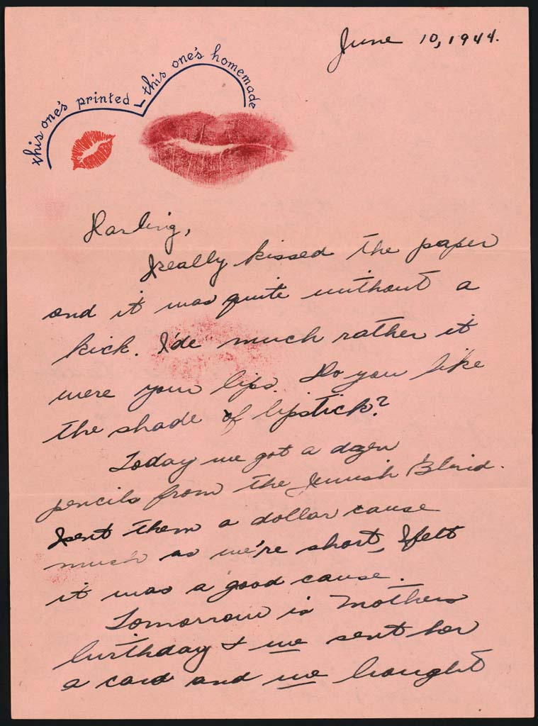 this ones printed this ones homemade letter with lipstick kiss norma brenner to joseph brenner june 10 1944 page 2 page 3 page 4 page 5