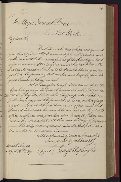 Exhibition i do solemnly swear inaugural materials from the manuscript letter in hand of washingtons secretary april 10 1789 manuscript division library of congress 1 stopboris Images
