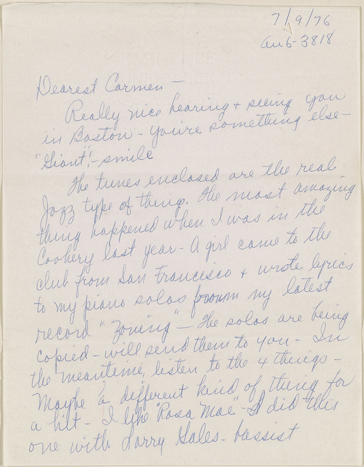 Online exhibition jazz singers exhibitions library of congress mary lou williams to carmen mcrae manuscript letter july 9 1976 page 2 carmen mcrae collection music division library of congress 0410000 stopboris