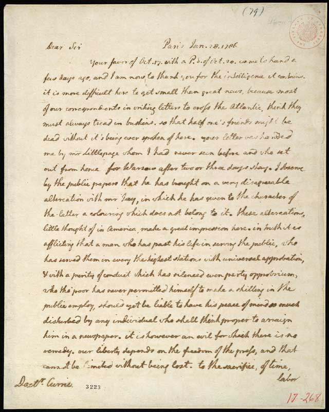 Letter Thomas Jefferson Thomas Jefferson to James
