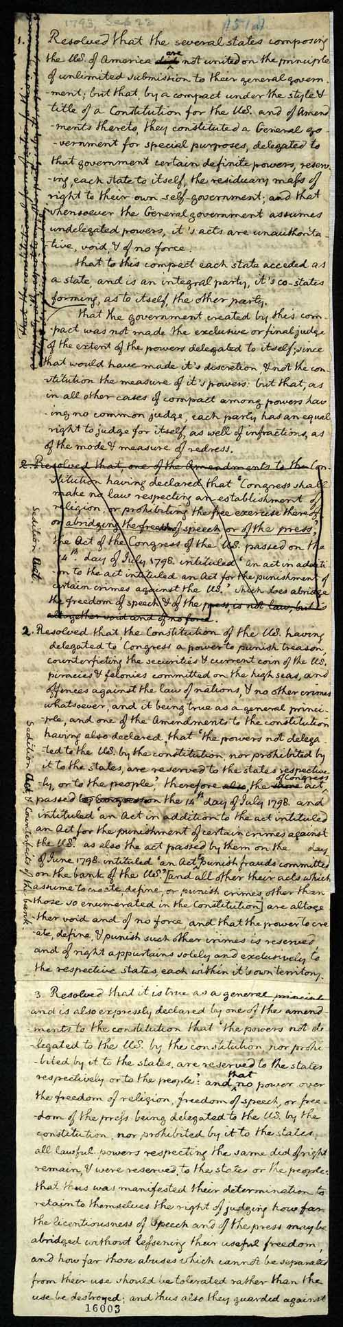 establishing a federal republic thomas jefferson exhibitions thomas jefferson draft of the kentucky resolutions 16 1798 manuscript manuscript division 135