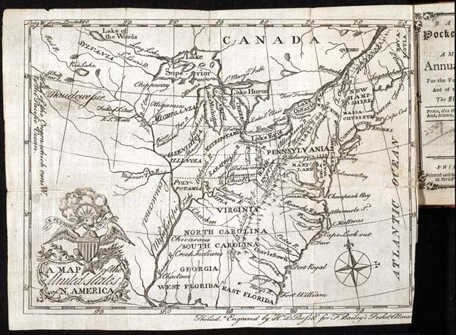 A Map Of The United States Of N America In Bailey S Pocket Almanac Philadelphia 1786 Copyprint Of Engraving Rare Book And Special Collections Division
