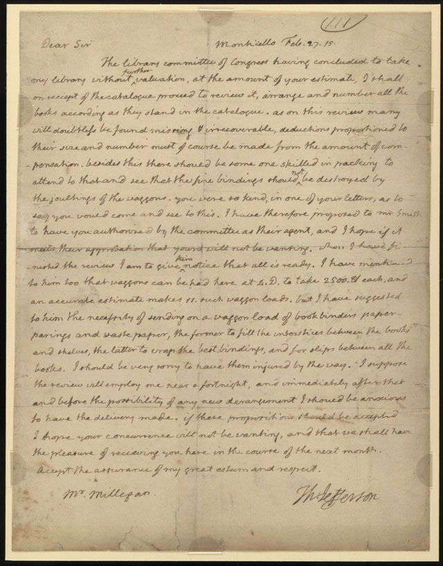 Letter Thomas Jefferson Thomas Jefferson to Joseph
