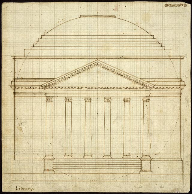 South Elevation of the Rotunda, University of Virginia -- Thomas Jefferson design for the university he founded and shepherded - UVA image