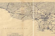 Prospective map showing automobile roads, Los Angeles and vicinity