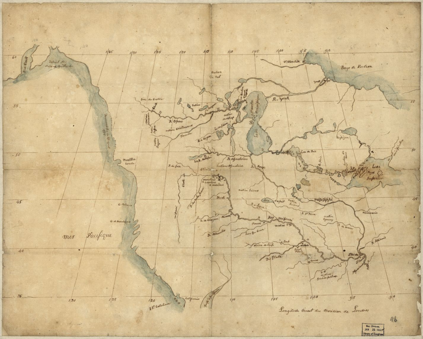 Map Of North America From The Mississippi River To The Pacific Between The 35th And 60th Parallels Of Laude Ca 1797 1800 Manuscript Map