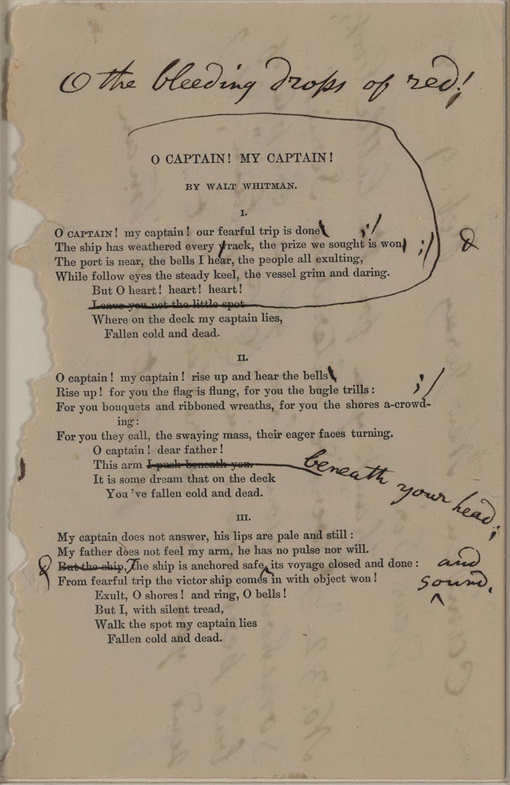 o captain my captain and the O captain my captain is an extended metaphor poem written in 1865 by walt whitman, about the death of american president abraham lincoln.