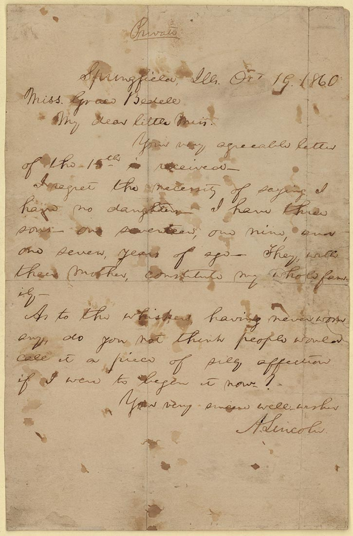 abraham lincoln to grace bedell october 19 1860 holograph letter on loan from the benjamin shapell family manuscript foundation 070 digital id