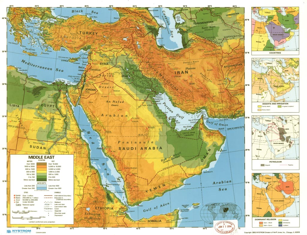 What Labels Are on a Physical Map of the Middle East Referencecom