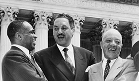 Brown plaintiff lawyers George E. C. Hayes, Thurgood Marshall, and James M. Nabrit congratulating each other on the Brown decision, May 17, 1954 (photo courtesy of the Library of Congress)