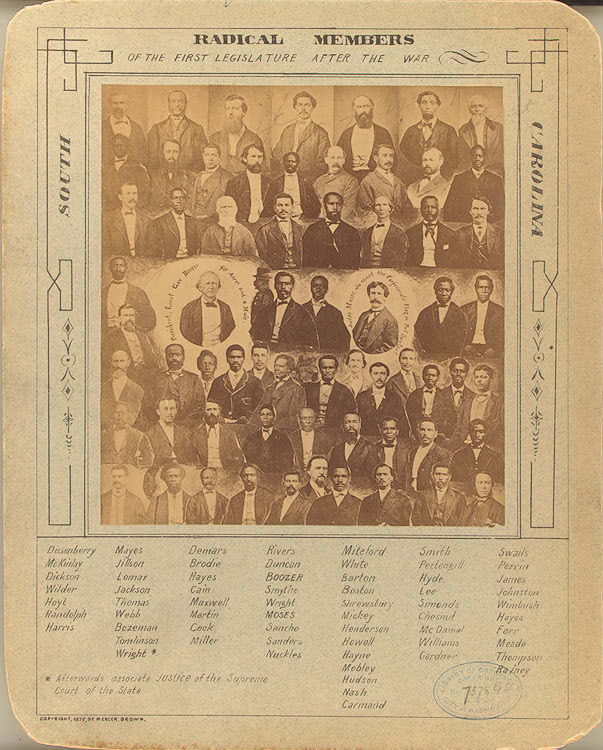 "Figure 3. ""Radical Members of the First Legislature after the War,"" in South Carolina (1878). Library of Congress."