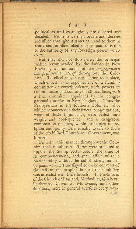 religion and the american revolution religion and the founding  historical and political reflections on the rise and progress of the american rebellion page 54 page 55 joseph galloway london g wilkie 1780