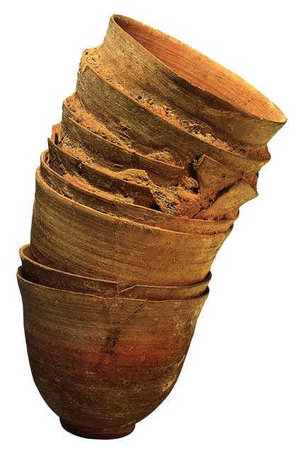 Stacked, V-shaped drinking goblets from Qumran made of Pottery dating to between the 1st C. BCE and the 1st C. CE. Height 26.5 cm (10 7/16 in.), diameter 16 cm (6 1/4 in.) Courtesy of the Israel Antiquities Authority (65-72). More at: http://www.loc.gov/exhibits/scrolls/art2.html