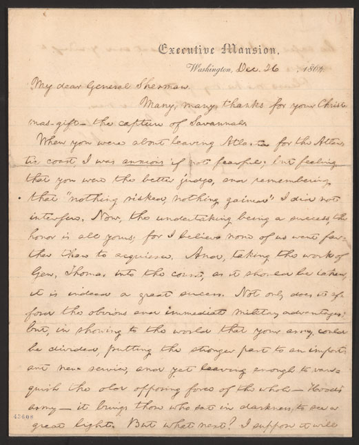 William tecumseh shermans gift for abraham lincoln 1864 telegram many thanks for your christmas gift he admitted to having been anxious if not fearful when sherman left atlanta but had decided to trust his spiritdancerdesigns Gallery