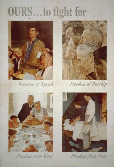 Norman Rockwell, poster of his paintings on the Four Freedoms (Library of Congress image)