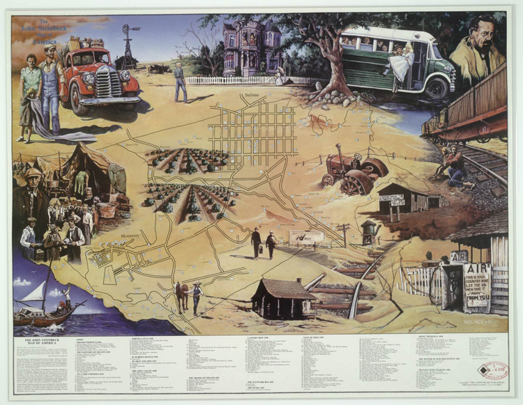 John Steinbeck Map of America Imagination American Treasures of – Travels With Charley Map